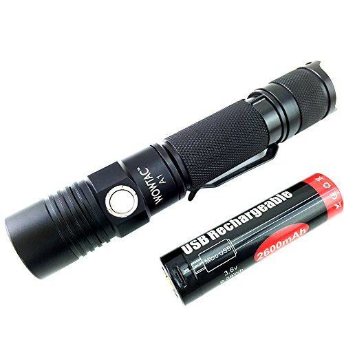 Wowtac A1 LED Flashlight, Pocket-Sized LED Torch, Super Bright 550 Lumens CREE LED, IPX7 Water Resistant, 5 Modes Low/Mid/High/Trubo/ Strobe for Indoors and Outdoors (Cool White) (Super Strobe)