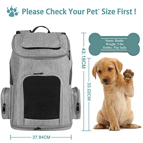 MATEIN Dog Carrier Backpack, Pet Carrier Bag with Mesh for Small Dogs Cats Puppies, Comfort Cat Backpack Bag Airline Approved for Hiking Travel Camping Outdoor Hold Pets Up to 18 Lbs, Grey