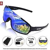 ROCKNIGHT REVO Sports Sunglasses for Men Women with 2 Interchangeable Lenses Cycling Running Driving Baseball Glasses UV Protection Black Frame