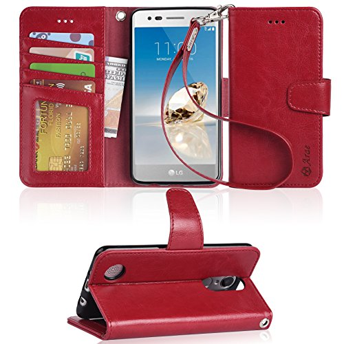 LG Aristo Case, LG Phoenix 3 Case, LG K8 2017 Case, LG Fortune Case, LG Risio 2 Case, LG Rebel 2 LTE Case, Arae LG Aristo wallet Case with Kickstand and Flip cover - Red by Arae