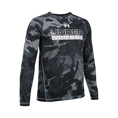 Under Armour Boys' ColdGear Infrared Long Sleeve, Gray Area (013)/White, Youth X-Small Boys Coldgear Long Sleeve