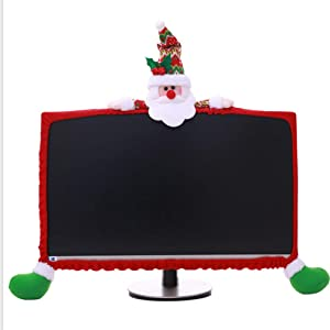 Gugou Computer Monitor Cover, Elastic Computer Cover Christmas Decorations for Home Office Decor and New Year Gift Ideas (Santa Claus)