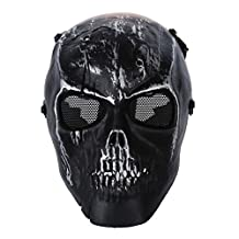 SODIAL(R) Army Skull Skeleton Airsoft Paintball BB Gun Full Face Game Protect Safe Mask - Silver Black