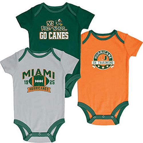 Pro Edge NCAA Newborn & Infants' 3-Pack Graphic Bodysuits - (Hurricane in Training, 6-9 Months) ()
