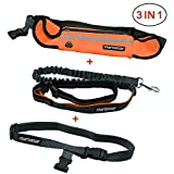 Startostar 3 in 1 Hands Free Dog Leash for Running, Jogging, Hiking, Walking | Durable Dual Handle Bungee Leash | Reflective Adjustable Waist Belt - Running Belt Pouch Fits Phones,Dog Waste Bag, Key