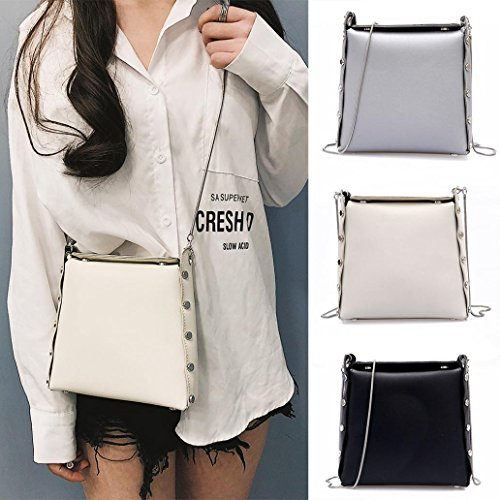 One Shoulder Bag Black Smooth Size Synthetic Womens Crossbody Silver Color Funie Leather HwqBRR