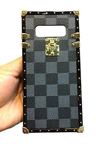 Galaxy Note 8 Grid Plaid Case,SelliPhone Luxury Design Cute Slim Checker Checkered Pattern PU Leather Soft Trunk Phone Skin Cover with Hand Strap for Samsung Galaxy Note 8 (2017),Gray (Pu Design Leather Slim)
