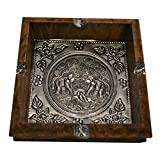 Asian Style Coffee Table JLZS Southeast Asian Style Solid Wood Large Ashtray Living Room Coffee Table Creative Retro Wood Elephant Tin Plate Ashtray (Color : No. 2)