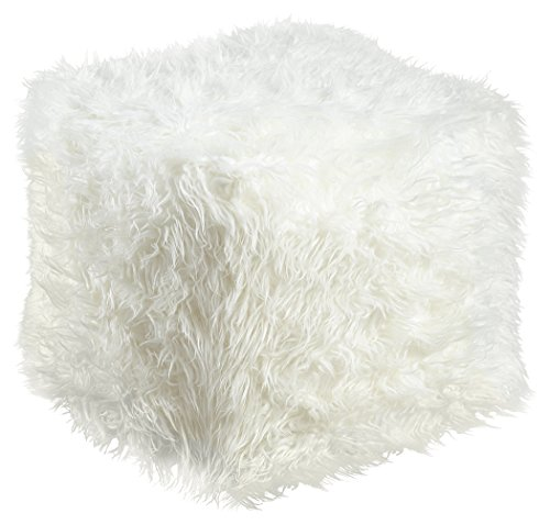 Ashley Furniture Signature Design - Himena Faux Fur Pouf - Comfortable Footrest & Ottoman - Traditional - White by Signature Design by Ashley