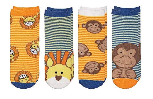 Sock Monkey Fun - FlapJackKids - Kids' Sock Safari - Lion/Monkey Toddler (1-3 yrs)(4 Pairs)