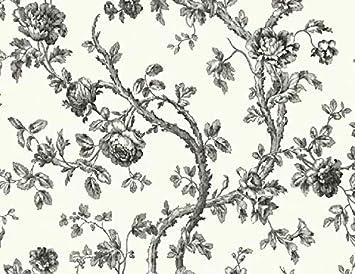 Wallpaper Designer Gray And Charcoal Rose Vine On Eggshell White