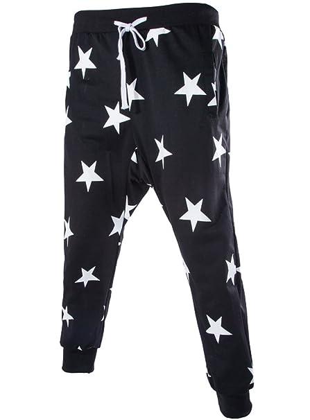 fcec1e4734 Men s Star Printing Hip Hop SweatPants Sweatshirt Harem Dance Jogger suits  US size L Tag