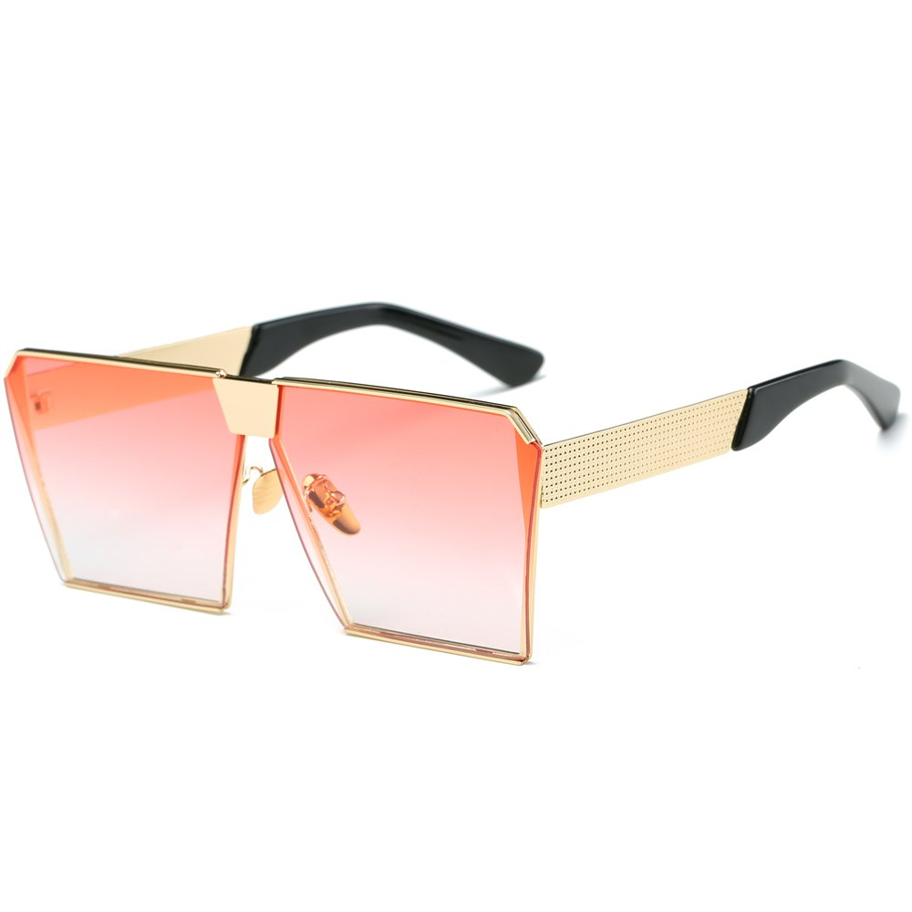 JOJO'S SECRET Oversized Square Sunglasses Metal Frame Flat Top Sunglasses JS009 (Gold/Transparent red, 2.48) by JOJO'S SECRET (Image #3)