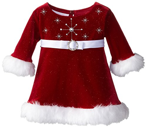 Bonnie Baby Baby-Girls Newborn Sparkle Santa Dress, Red, 3-6 (Infant Santa Dress)