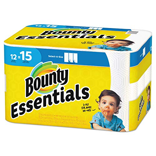 Bounty 75720 Essentials Select-A-Size Paper Towels, 2-Ply, 78 Sheets/Roll, 12 Rolls/Carton ()