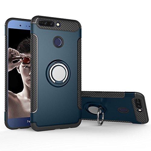 Honor 8 Pro Funda, Creativo Anti-Choque Anti-arañazos Coche Cáscara Magnética del Teléfono Función del Stent Silicona la Caja del Teléfono Case - Rojo Navy Blue