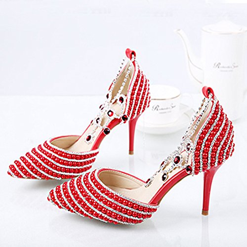 Dress Pointed Sandals Showing Size Bride Big Elegant Heeled Sandals VIVIOO Shoes Important Prom Princess Women 4 High Crystal Pearl Party Wedding Y4CSAFxqw