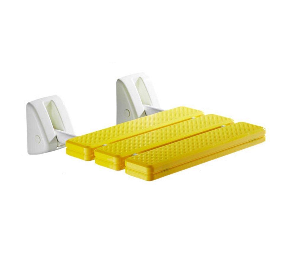 バスチェア、折り畳み式バスルーム老人妊婦シャワーチェアイエロー B0787QTXBZ