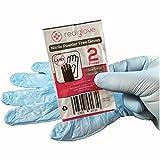 100 pairs Blue Nitrile powder free Disposable Emergency Gloves - 1 pair per bag First Aid Bloodborne Pathogen Kit gloves (100)