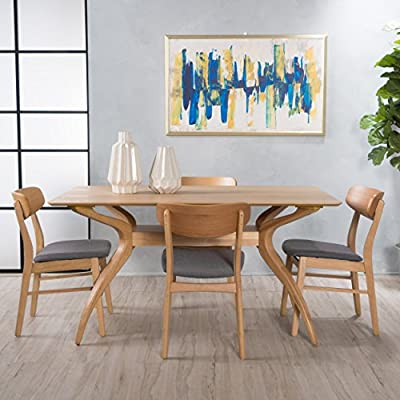 """Leona Mid Century Natural Oak Finish 5 Piece Dining Set (Dark Grey) - Includes: One (1) Table and Four (4) Chairs Table Dimensions: 35.43""""D x 59.06""""W x 29.53""""H   Chair Dimensions: 21.26""""D x 18.50""""W x 30.71""""H Chair Colors available in: Green Tea, Light Beige, or Dark Grey - kitchen-dining-room-furniture, kitchen-dining-room, dining-sets - 51XD5s8X6PL. SS400  -"""