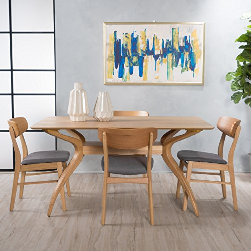 Christopher Knight Home 299330 Leona Mid Century Natural Oak Finish 5 Piece Dining Set (Dark Grey),