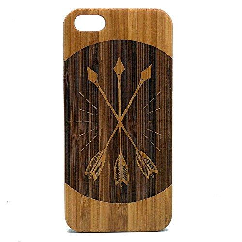 Tres flechas iPhone 7Case Cover. Arco y flecha madera de bambú ecológica. rústico de Cupido Woodsy Woodland clásico...