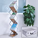 Yescom Portable Pop Up 5 Wood Pocket Magazine Brochure Literature Catelog Holder Rack Stand Tradeshow Display