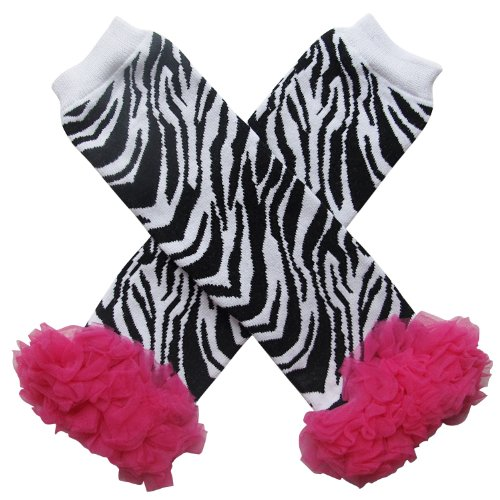 Zebra Costumes Baby (Chiffon Ruffle Halloween Costume Spooky Styles Leg Warmers - One Size - Baby, Toddler, Girl (Chiffon Zebra with Hot Pink))
