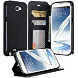 Samsung Galaxy Note 2 Case, Galaxy Wireless Note 2 Wallet Case, Magnetic PU Leather Flip Wallet Pouch For Samsung Galaxy Note 2, Slim Folio with Kickstand - Black Slim Wallet
