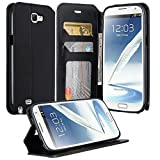 note 2 wallet case - Samsung Galaxy Note 2 Case, Galaxy Wireless Note 2 Wallet Case, Magnetic PU Leather Flip Wallet Pouch For Samsung Galaxy Note 2, Slim Folio with Kickstand - Black Slim Wallet