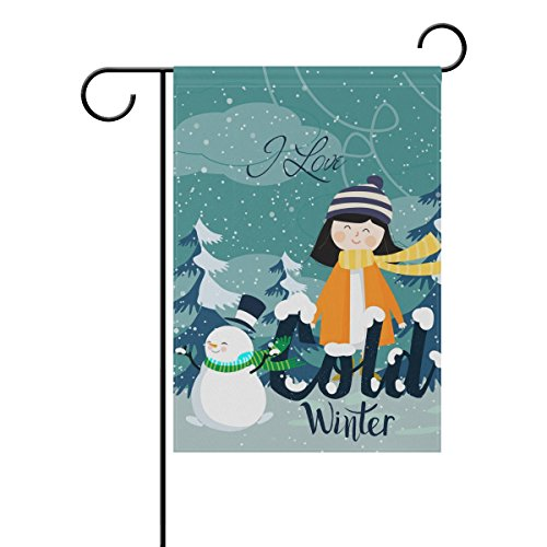 Decorative Flags for Outside Double Sided Welcome Garden Flag with Novelty Graphic Words I Love Cold Winter Pattern for Yard Flags Outdoor Flags