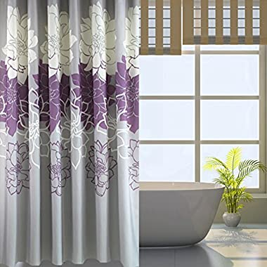 Sfoothome Gray Background and Flowers Pattern ,Mildew Proof and Waterproof Washable Printed Polyester Fabric Shower Curtain for Bathroom (72inch*72inch, Purple)