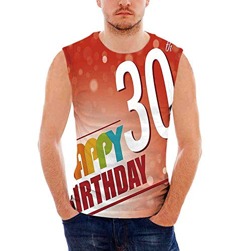 iPrint 30th Birthday Decorations Mens Comfort Cotton Tank Top,Invitation to Birthday P