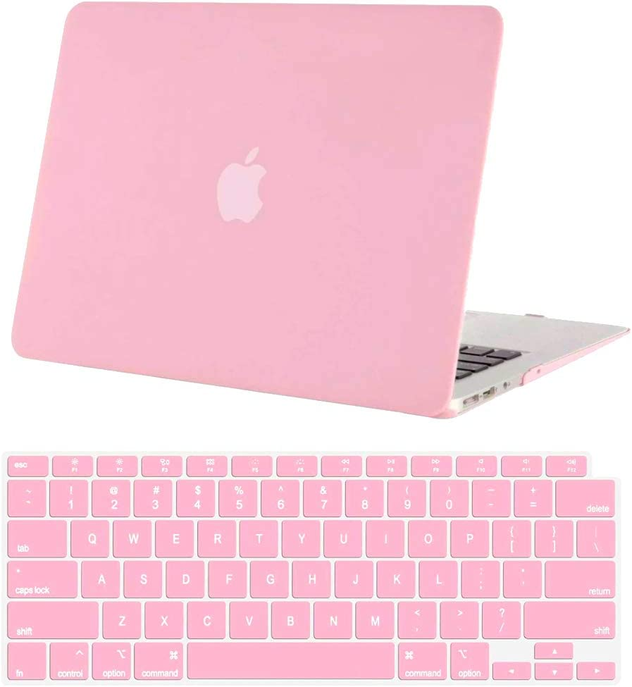 """New Hard Shell Plastic Clip Case for MacBook Air 13"""" M1 (2020-2021) and MWT (2018-2019) Laptop Computer with Matching Color Keyboard Cover (Models A2337 A2179 A1932) (Pink)"""