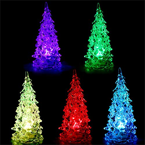 Alapaste Lighted Christmas Trees Set of 3 Color Changing LED Tabletop Acrylic Xmas Trees Lamp Colorful Holiday Decoration