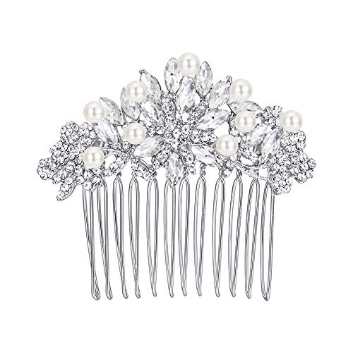 EVER FAITH Silver-Tone Austrian Crystal Cream Simulated Pearl Bridal Lots Leaves Flowers Hair Comb Clear