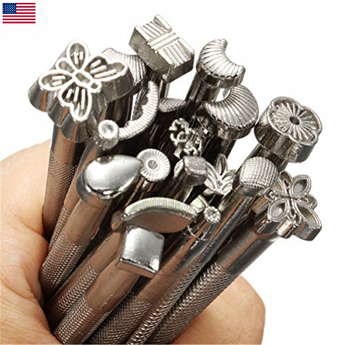20PCS Leather Tools Working Saddle Making Set Carving Craft Stamps Punch DIY - Wing Punch Edger