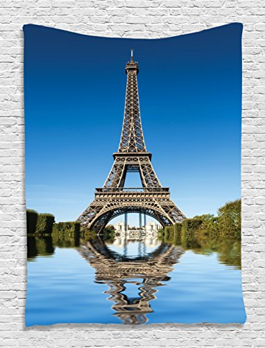 Paris Tapestry Landscape Wall Decor by Ambesonne, Eiffel Tower Reflected on Water Picture and Bushes River City, Living Room Dorm Accessories Wall Hanging, 60 W x 80 L Inches, Blue Green and (River City Tower)