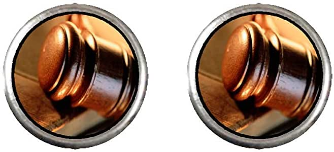 Chicforest Silver Plated The Law Photo Stud Earrings 10mm Diameter