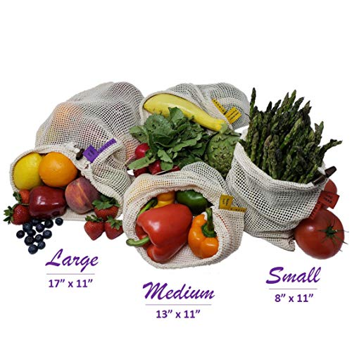 GINEVE Reusable Mesh Produce Bags, Set of 12 eco-Friendly Reusable Grocery Bags, 4 Lg, 4 Md, 4 Sm, Tare Weight On Labels, Washable Bags, Double Stitched Reusable Shopping Bags, Expandable Produce Bags
