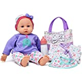 "14"" Baby Doll Travel Carry Case Set, Adorable Doll comes Dressed in Clothes, Diaper and Hat, Includes Baby Doll Diaper Bag Set, Additional Onesie, Bib, and Milk Bottle Accessories"