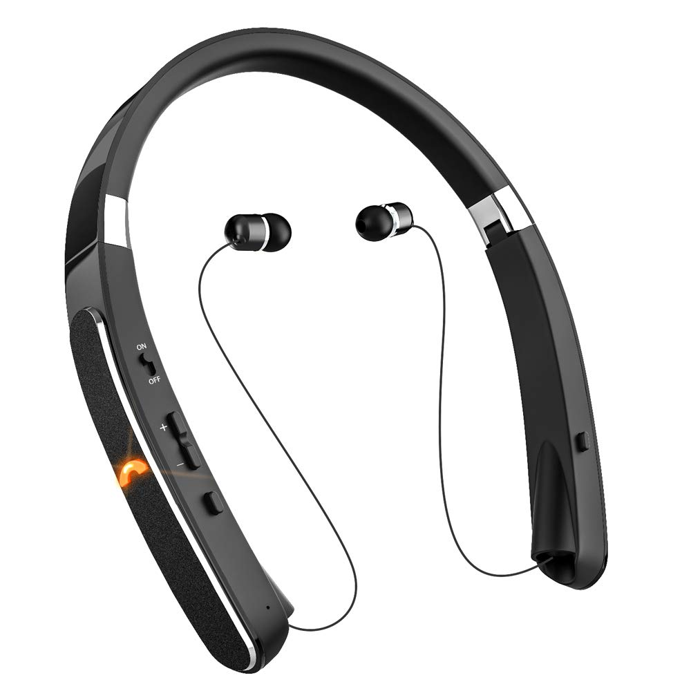 Wireless Headphones, Bluetooth Headphones, Titita Neckband in-Ear Bluetooth Headset Foldable Retractable Design 30 Hrs Playtime W CVC6.0 Mic, Compatible with iPhone Xs Xr, Samsung Galaxy S9 Note9