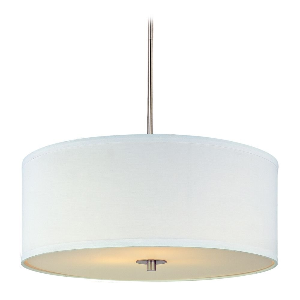 modern drum pendant light with white shade in satin nickel finish ceiling pendant fixtures amazoncom