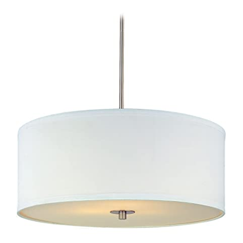 Modern drum pendant light with white shade in satin nickel finish modern drum pendant light with white shade in satin nickel finish mozeypictures Gallery