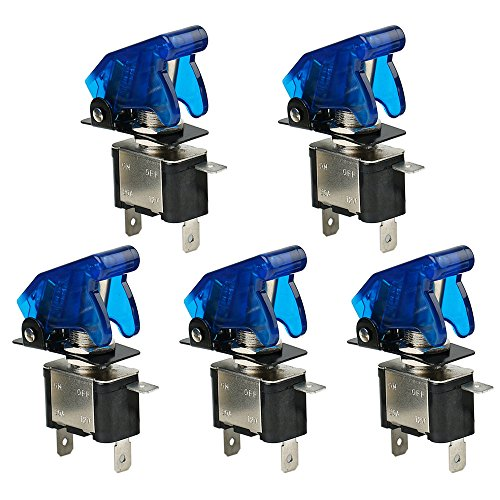 AIU TOP 12V 20A Blue LED Toggle Switch SPST ON/Off with Blue Coverfor Car Truck, Pack of 5