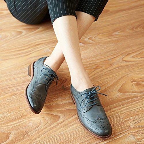 Odema Damen Leder Oxfords Perforierte Lace-up Wingtip Low Heel Carving Brogue Kleid Schuhe Gray