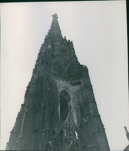 Vintage photo of Bienna Has Lost Its Laughter.What is left of St. Stephen39;s Cathedral Two candid snapshots of a masterpiece of gothic architecture on Roman foundations; consecrated in 1147, mainly built during the 14th Century.Vienna Austria