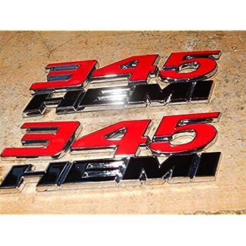 BLACK NEW 345 HEMI EMBLEM BADGE RED