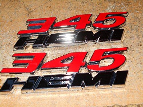 Chrome Hemi Logo Emblem - Yoaoo 2x New Chrome OEM 345 Hemi 345Hemi Emblems Badges Alloy Decal 3D Logo for Challenger Chrysle 300C (Red)