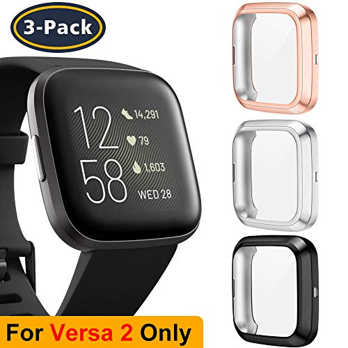 QIBOX Screen Protector Case Compatible with Fitbit Versa 2, Protective TPU Rugged Case Cover All-Around Plated Bumper Shell for Versa Smartwatch 3-Pack